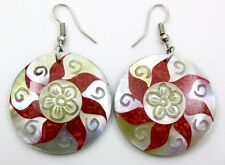 ELEGANT RED CORAL & MOTHER-OF-PEARL earrings: GA098-A