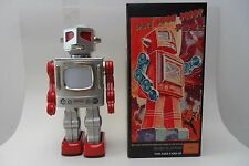 Rare Silver TV Robot Battery Operated by RM Metal House Toys Made Japan Box