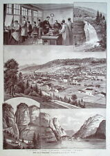 Uhrmacher, Uhren, La Chaux-de-Fonds, Schweiz,  Original-Holzstich von 1895
