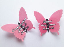 15 Personalised Dark Pink Edible Rice Wafer Paper Butterflies Cupcake Toppers