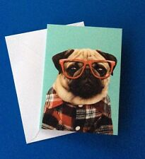 3 x paperchase blank card with envelopes -pug dog design