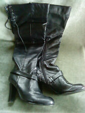 Fiore Black Leather knee high Boots with calf zip UK size 6, Euro 39, USA 9
