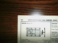 1972 Pontiac Models 175-200 HP 400 CI V8 2BBL SUN Tune Up Chart Great Shape!