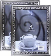 "Lot 2 Burnes of Boston 8""X 10"" Elegant Pewter Scrolled Picture Frame w/ glass"
