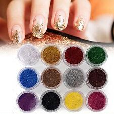 12Pcs Mixed Glitter Dust Powder Set for Nail Art Acrylic Tips Decoration Ornate