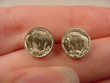 (#EE-752) PIERCED mini COIN Buffalo nickel 20th century miniature token Earrings