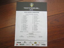 2014-15 CHAMPIONSHIP   LEEDS UNITED  v BRENTFORD OFFICIAL    TEAM SHEET