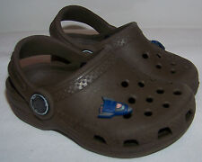 Baby Crocs Cayman Clogs Shoes Brown With Rocketship Jibbitz Size 4-5