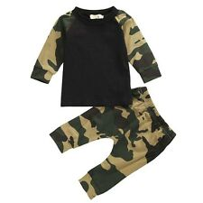 Newborn Baby Boys Girls Kids T-shirt Tops+Long Pants Outfits Clothes Sets UKA1