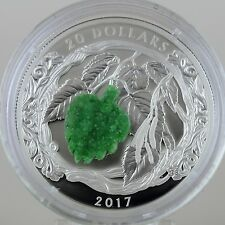 Canada 2017 $20 Brilliant Birch Leaves With Drusy Stone 1 oz. Pure Silver Proof
