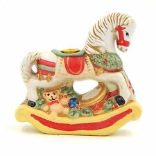 Vintage Giftco Christmas Rocking Horse Candle Holder Figurine Porcelain Ceramic