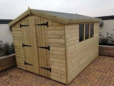 GARDEN SHED TANALISED SUPER HEAVY DUTY 10X8 APEX 19MM T&G.  3X2.