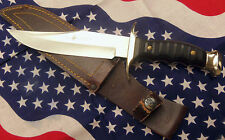 """Alce Bowie Knife 11.5"""" Brass Handle Leather Sheath Made in Spain"""