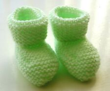 BABY HAND KNITTED BOOTEES / BOOTIES PREM / DOLL / NEWBORN PALE GREEN NEW