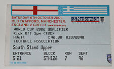 Ticket for collectors WC q England - Greece * 2001 Manchester