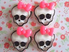 4x Monster High Girl Skull Bow Flatback Resin Embellishment Crafts Hairbow UK