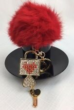 IDEAL PRESENT.!! Fluffy Red Pompom With Lock&Key 2My Heart Charm/Keyring.!!!