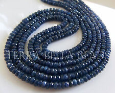 "7"" strand deep blue genuine BURMESE SAPPHIRE faceted rondelle beads 3mm - 4mm"