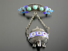 ANTIQUE CHINESE CLOISONNE ENAMEL TURQUOISE & SILVER CENSOR BROOCH C.1900