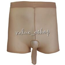 Men's Closed Penis Sheath Boxer Briefs Shorts Underwear Lingerie Clubwear Nude