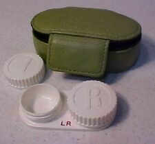 """NEW 2"""" x 3"""" 100% Leather case FOSSIL Snap closure Contact Lens Case travel size"""