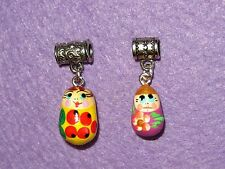 Hand painted 2 Charms Yellow Lilac RUSSIAN DOLLS EUROPEAN Beads Snake Bracelet