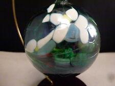 """CHRISTMAS Ornament Hand Blown POLAND ART Glass Ball  GREEN   3"""""""