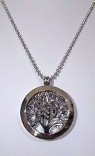 SILVER TREE OF LIFE INTERCHANGEABLE MEMORY LOCKET WITH SILVER CHAIN NECKLACE