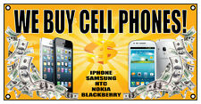 WE BUY CELL PHONES BANNER SIGN 4' X 2' IPHONE REPAIR FIX SCREEN PAWN SHOP