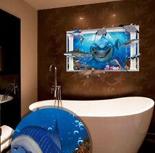 Ocean Shark Sea Lion 3D WINDOW Wall Decal Sticker Vinyl Art Mural Bathroom Decor