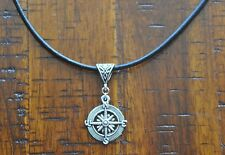 Compass Antique Silver Pendant Leather Necklace Beach Surfing Diving Salt Life