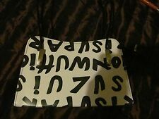 new white black letter print faux leather hand bag  size m