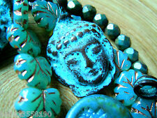 Neuer Buddha-Kopf m.Green Patina aus Copper- Greek-Keramik- 35x24mm -