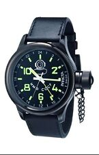 Invicta 7183 Black S/S Russian Diver Swiss Quartz Navy Blue Alliga Leather Strap