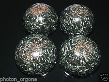 4 Orgone Psychic Attack Protection Domes Shungite Ruby Rutilated Quartz Beryl
