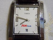 Men's Very Rare Advertising AON HEWITT Timex Leather Band Quartz Watch