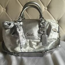 Coach Ashley Signature Satchel Silver With Extra Scarf Retail $398