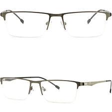 Leichte Herren Brille Brillengestell Randlos Titan Metall Brillenfassung Grau