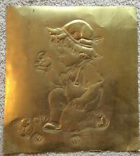 Hammered Copper Embossed Picture Little Boy Holding A Chick