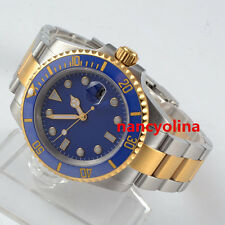 40mm Parnis blue Sterile Dial Ceramic Bezel gold Automatic Mens Date watch