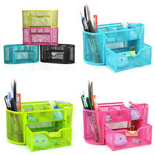 Desk Organizer 9 Compartments Metal Black Mesh Desktop Office Pen Pencil Holder