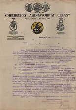 """BERLIN W 9, Brief 1919, """"CELAS"""" Chemisches Laboratorium Apotheker G. Sittig"""