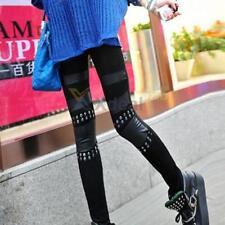 Goth Punk cotone con rivestimento in PU Cuoio e Borchie Leggings Neri Misura UK 10