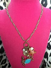 Betsey Johnson Vintage Mermaid's Tale Nautical Clam Crab Starfish Charm Necklace