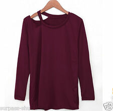 1PC Women lady sexy Cotton Long Sleeve V Neck Loose Casual T-Shirt Blouse Size S