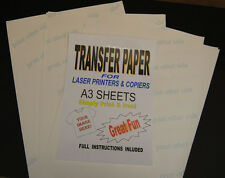 10x A3 Laser & Copier T Shirt Thermal Transfer Paper Sheets For Light Fabrics