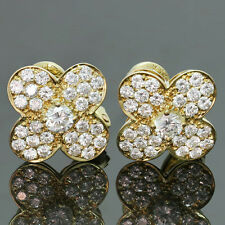 Authentic 1990s VAN CLEEF & ARPELS Large Trefle Diamond 18k Yellow Gold Earrings