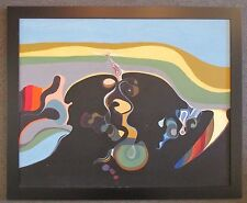 """MICHAEL DORMER (b.1935) LISTED VINTAGE 40"""" MODERN SURREALISM ABSTRACT PAINTING"""