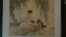 "ANTIQUE CHINESE WATERCOLOR SCROLL PAINTING ON SILK""YOUNG WOMAN ON POND"",RED SEAL"