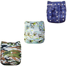 3Alva Healthful Washable Reuseable BAMBOO Cloth Diaper Nappy +3inserts Baby Set
